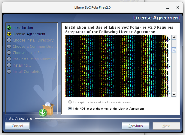 Libero Java installer license